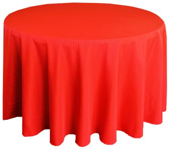 """108"""" Round Polyester Tablecloth - Red 52812 (1pc/pk)"""