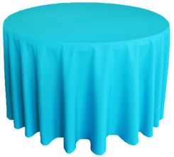 "108"" Round Polyester Tablecloth - Turquoise 52885(1pc/pk)"
