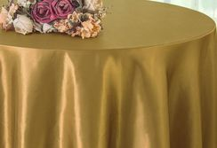 "108"" Round Satin Tablecloths - Antique Gold 55629(1pc/pk)"