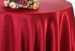 "108"" Round Satin Tablecloths - Apple Red 55608(1pc/pk)"