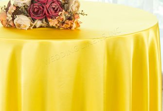 """108"""" Round Satin Tablecloths - Canary Yellow 55616(1pc/pk)"""