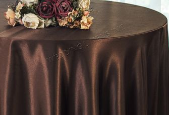 "108"" Round Satin Tablecloths - Chocolate 55691(1pc/pk)"