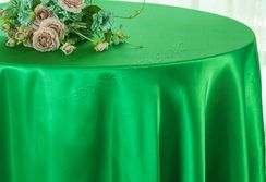 "108"" Round Satin Tablecloths - Emerald Green 55638(1pc/pk)"