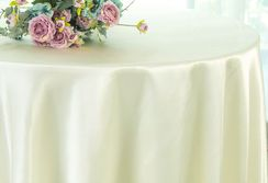 "108"" Round Satin Tablecloths - Ivory 55602 (1pc/pk)"
