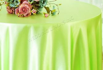 "108"" Round Satin Tablecloths - Key Lime 55649(1pc/pk)"