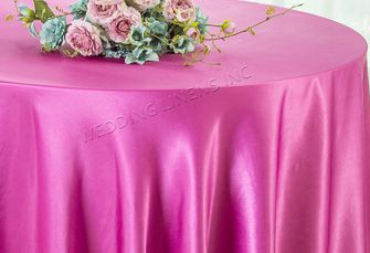 "108"" Round Satin Tablecloths - Magenta  / Azalea 55636(1pc/pk)"