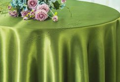 "108"" Round Satin Tablecloths - Moss Green 55617(1pc/pk)"