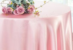 "108"" Round Satin Tablecloths - Pink 55605(1pc/pk)"