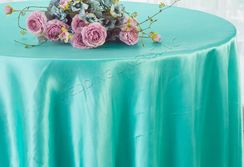 "108"" Round Satin Tablecloths - Pool Blue 55678(1pc/pk)"