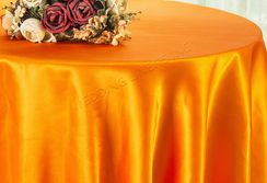 "108"" Round Satin Tablecloths - Tangerine 55651(1pc/pk)"