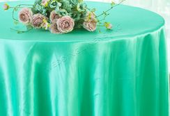 "108"" Round Satin Tablecloths - Tiff Blue / Aqua Blue 55618(1pc/pk)"
