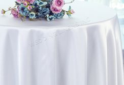 "108"" Round Satin Tablecloths - White 55601 (1pc/pk)"