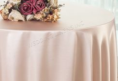 "108"" Round Satin Table Overlays - Blush Pink 55615 (1pc/pk)"