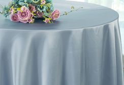 "108"" Round Satin Tablecloths - Dusty Blue 55603 (1pc/pk)"