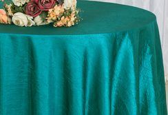 "108"" Round Seamless Crushed Taffeta Tablecloth (31 colors)"