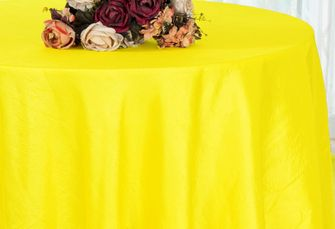 "108"" Round Crushed Taffeta Tablecloth - Canary Yellow 61416(1pc/pk)"