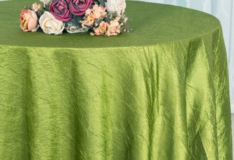 "108"" Round Crushed Taffeta Tablecloth - Moss Green 61417(1pc/pk)"