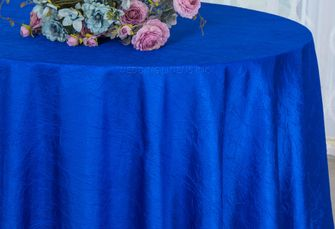 "108"" Round Crushed Taffeta Tablecloth - Royal Blue 61422(1pc/pk)"