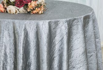 "108"" Round Crushed Taffeta Tablecloth - Silver 61440(1pc/pk)"