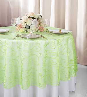 "108""  Round Embroidered Organza Table Overlay - Apple Green 95837(1pc/pk)"