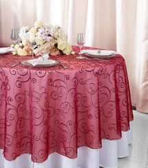 """108""""  Round Embroidered Organza Table Overlay - Apple Red 95808(1pc/pk)"""
