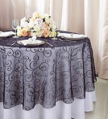 """108""""  Round Embroidered Organza Table Overlay - Black 95839(1pc/pk)"""