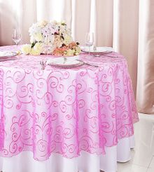"""108""""  Round Embroidered Organza Table Overlay - Bubble Gum 95835(1pc/pk)"""