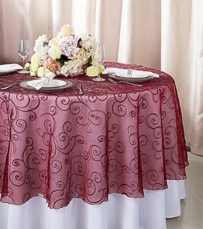 """108""""  Round Embroidered Organza Table Overlay - Burgundy 95810(1pc/pk)"""