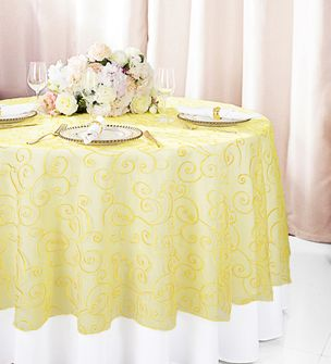 """108""""  Round Embroidered Organza Table Overlay - Canary Yellow 95816(1pc/pk)"""