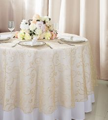 """108""""  Round Embroidered Organza Table Overlay - Champagne 95828(1pc/pk)"""