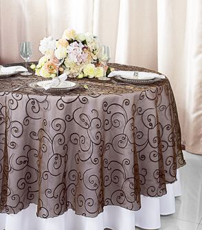 "108""  Round Embroidered Organza Table Overlay - Chocolate 95891(1pc/pk)"