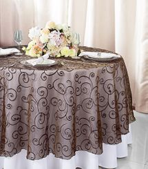 """108""""  Round Embroidered Organza Table Overlay - Chocolate 95891(1pc/pk)"""