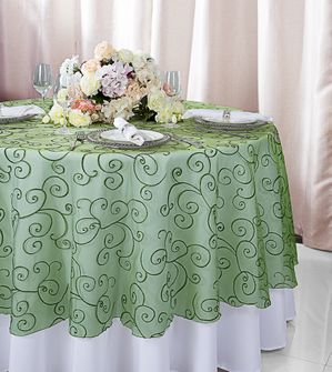 """108""""  Round Embroidered Organza Table Overlay - Clover 95848(1pc/pk)"""