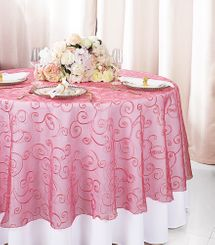 """108""""  Round Embroidered Organza Table Overlay - Coral 95806(1pc/pk)"""