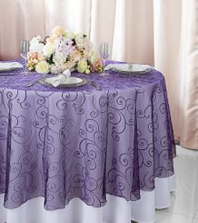 """108""""  Round Embroidered Organza Table Overlay - Eggplant 95845(1pc/pk)"""