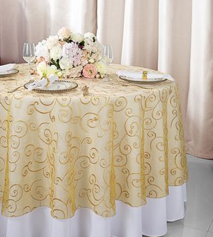 "108""  Round Embroidered Organza Table Overlay - Gold 95827(1pc/pk)"
