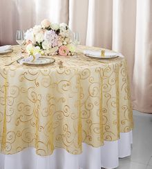 """108""""  Round Embroidered Organza Table Overlay - Gold 95827(1pc/pk)"""