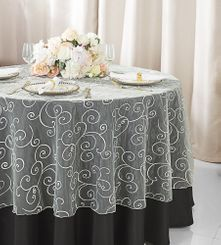 """108""""  Round Embroidered Organza Table Overlay - Ivory 95802(1pc/pk)"""