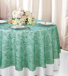 """108""""  Round Embroidered Organza Table Overlay - Jade 95826(1pc/pk)"""