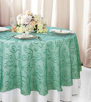 "108""  Round Embroidered Organza Table Overlay - Jade 95826(1pc/pk)"