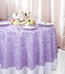 """108""""  Round Embroidered Organza Table Overlay - Lavender 95811(1pc/pk)"""
