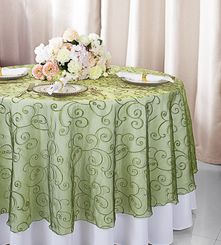 """108""""  Round Embroidered Organza Table Overlay - Moss Green 95817(1pc/pk)"""