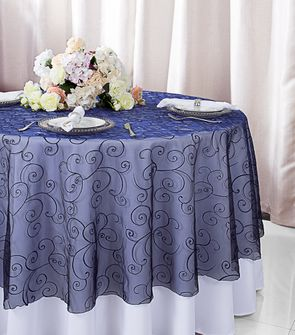 "108""  Round  Embroidered Organza Table Overlay - Navy Blue 95823(1pc/pk)"