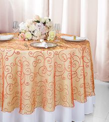 """108""""  Round Embroidered Organza Table Overlay - Orange 95833(1pc/pk)"""