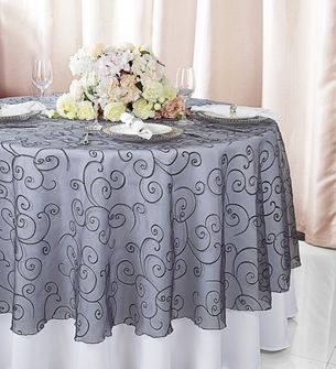 "108""  Round Embroidered Organza Table Overlay - Pewter 95860(1pc/pk)"