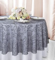 """108""""  Round Embroidered Organza Table Overlay - Pewter 95860(1pc/pk)"""