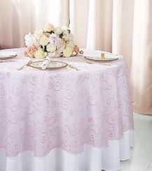 """108""""  Round Embroidered Organza Table Overlay - Pink 95805(1pc/pk)"""