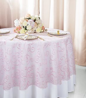 "108""  Round Embroidered Organza Table Overlay - Pink 95805(1pc/pk)"