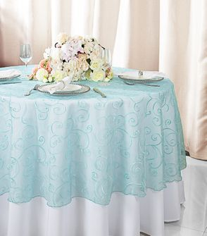 "108""  Round Embroidered Organza Table Overlay - Pool Blue 95878(1pc/pk)"