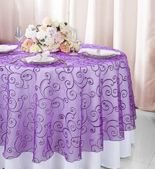 """108""""  Round Embroidered Organza Table Overlay - Purple 95843(1pc/pk)"""